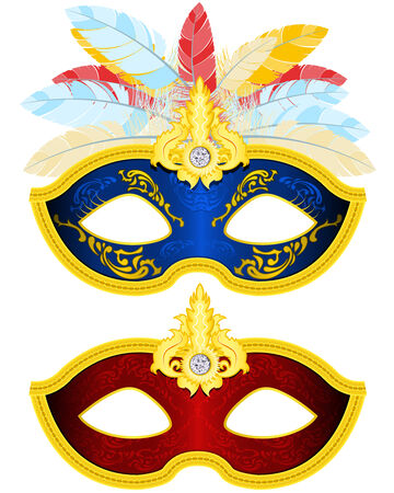 Two Masquerade Mask with feather in different colors