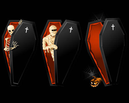 Halloween poster with Coffin and Skeleton inside