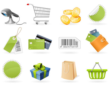 Shopping and retail icons Stock Vector - 7987799