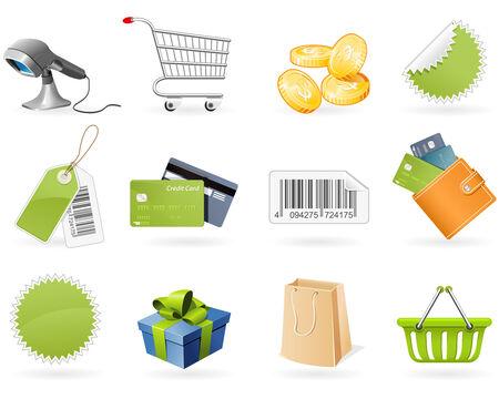 Winkel- en detail handel pictogrammen