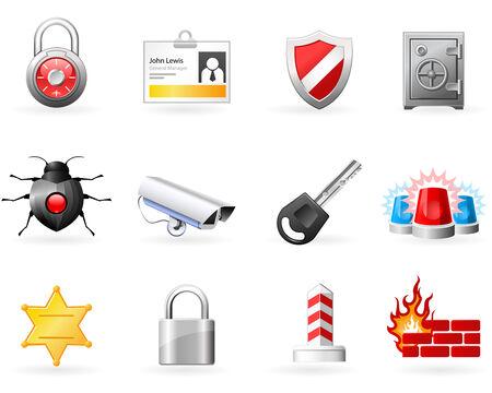 Veiligheid en veiligheid pictogrammen  Vector Illustratie