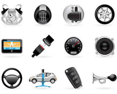 Car options, accessories and features icon set Vetores