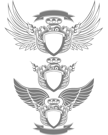 Racing emblem with engine, wings and ribbon