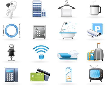 Icon Set - Hotel Unterkunft Annehmlichkeiten und Dienstleistungen