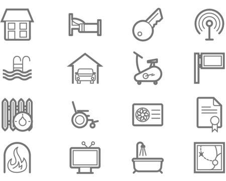 Accommodatie voorzieningen icon set