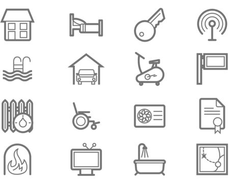 Accommodation amenities icon set