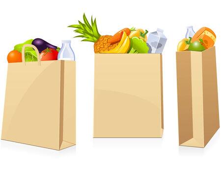 Bolsas de compra de comestibles Ilustración de vector