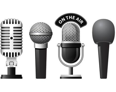 Satz von retro und moderne Mikrofone in verschiedenen Stilen