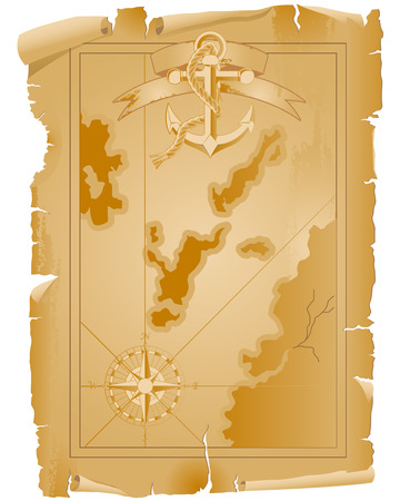 Old pirate map with anchor and ribbon
