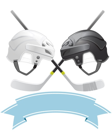 Ice Hockey emblem with helmets and sticks