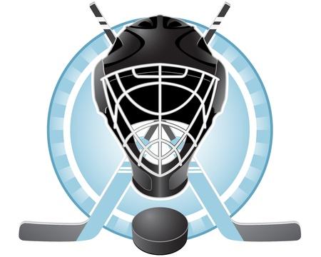 Emblem with goaltender helmet, hockey sticks and puck Stock Illustratie