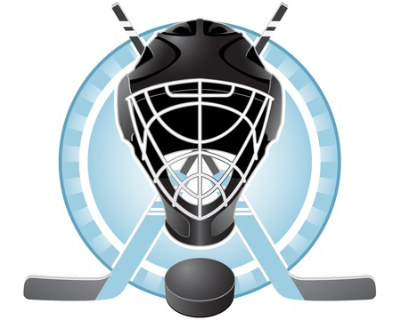 Emblem with goaltender helmet, hockey sticks and puck Ilustração