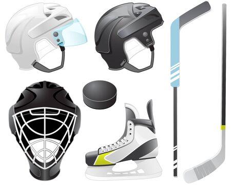 Goaltender helmet, hockey sticks, skate and puck Stock Illustratie