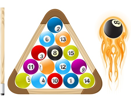 Billiard ball in flame and pool balls in rack