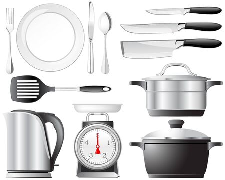 Kitchenware pots, knives, and other utensils used in the kitchen