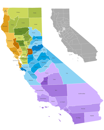 California state counties map with boundaries and names  Ilustração