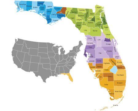 Floride, les comtés de l'état carte avec frontières et les noms