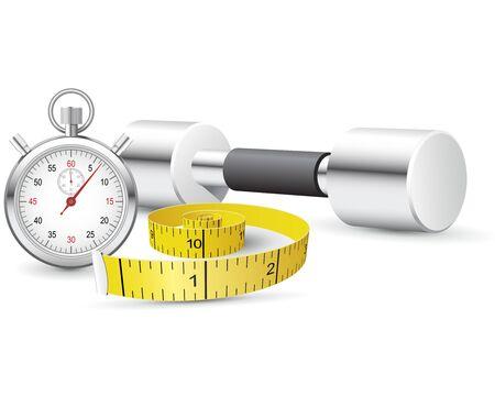 Stopwatch, measuring tape and dumbbells Stock Illustratie