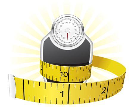 Pesos y cinta métrica