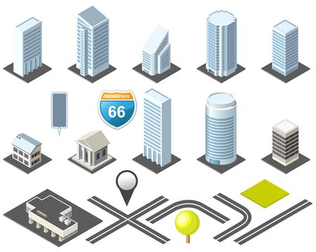 Isometric map toolkit downtown Stock Illustratie
