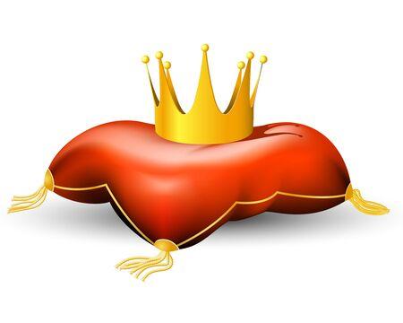 Corona real sobre la almohada con borlas