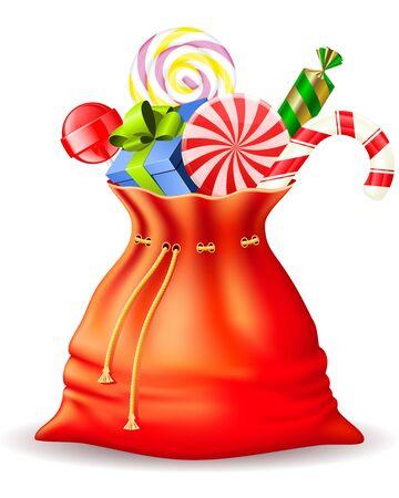Santa Claus sac avec des cadeaux et des friandises différentes Banque d'images - 10929845