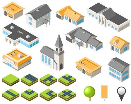 Suburban community isometric city kit