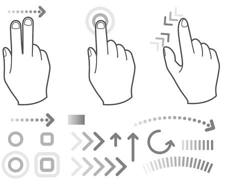 Toque señales con las manos gesto pantalla Ilustración de vector