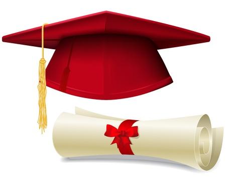 Red graduation cap, baret en diploma scroll, gemaakt met verloopnet