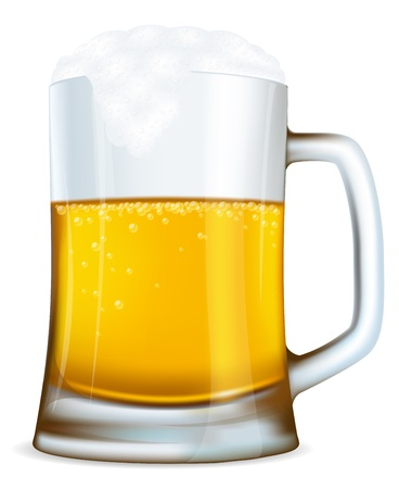 Beer mug with bubbles made with gradient mesh Ilustração