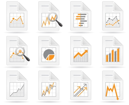 Statistics and analytics file icons with diagrams