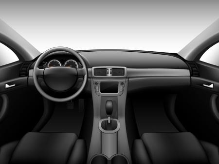 Dashboard - car interior, made with gradient mesh Stock Illustratie