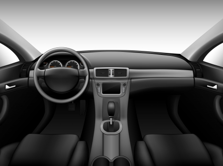 Dashboard - car interior, made with gradient mesh Illustration