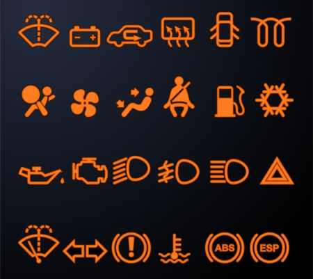 Illuminated car dashboard icons Illustration