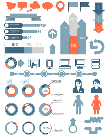 Set of infographic elements and icons Stock Illustratie
