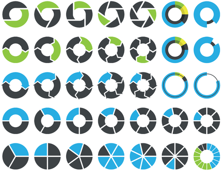 Pie charts and circular graph infographic kit Stock Illustratie