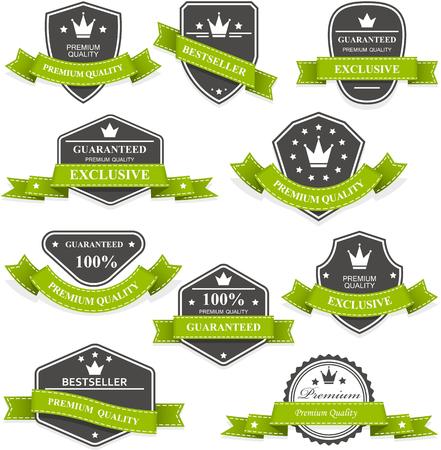 Heraldische medailles en emblemen met linten Stock Illustratie