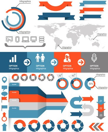 Infographics and statistic elements and icons Stock Illustratie