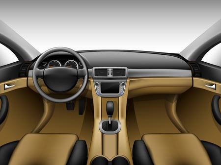 Intérieur de la voiture en cuir beige clair
