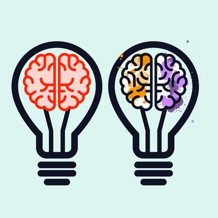 Light bulb with brain and blots inside - creativity symbol