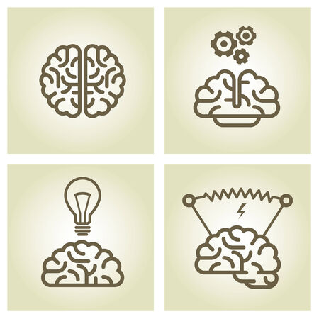 inventions: Brain icon - invention and inspiration symbols Illustration