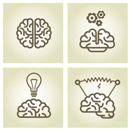 filament: Brain icon - invention and inspiration symbols Illustration