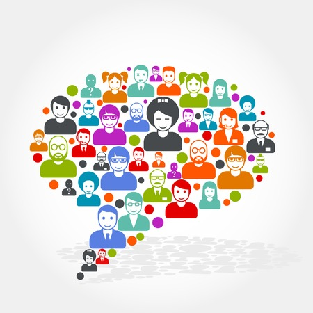 Social networking - speech bubble made of people icons Stock Illustratie
