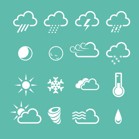 Simple forecast  weather icons - sunny, foggy and snowy clouds