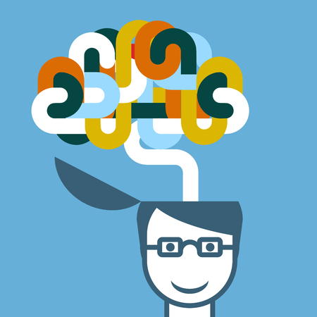 Creative person - head with imaginative brain Çizim