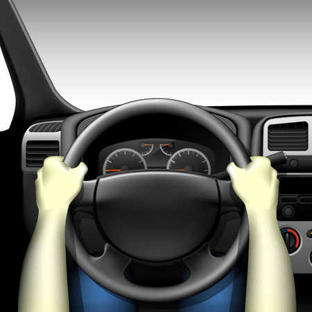 dashboard: Car driver - car interior with dashboard and hands of driver, made with gradient mesh