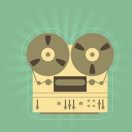 tape recorder: Retro open-reel tape recorder  magnetophone  Illustration