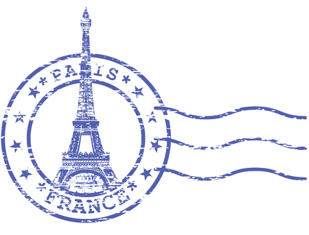 frayed: Shabby stamp with Eiffel tower - Sights of Paris