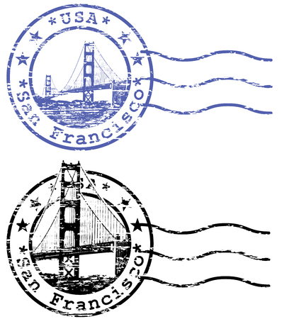 Shabby stamp with cityscape of San Francisco and Golden Gate - sights of California Illustration