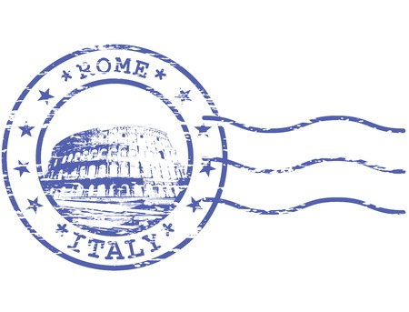 europa: Shabby stamp with Colosseum - sights of Rom